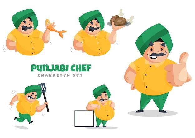 Ilustracja kreskówka zestaw znaków pendżabski kucharz