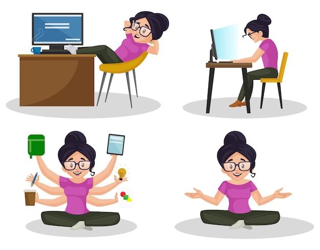 Ilustracja kreskówka zestaw znaków projektanta graficznego dziewczyna
