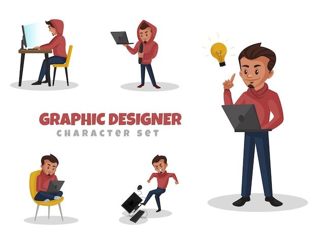 Ilustracja kreskówka zestaw znaków projektanta graficznego