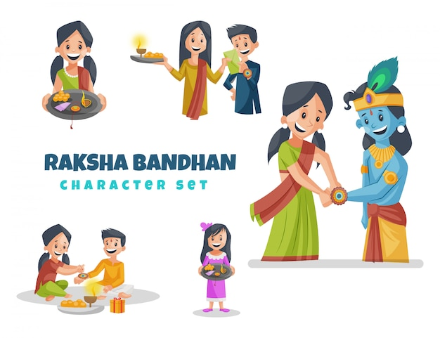 Ilustracja kreskówka zestaw znaków raksha bandhan