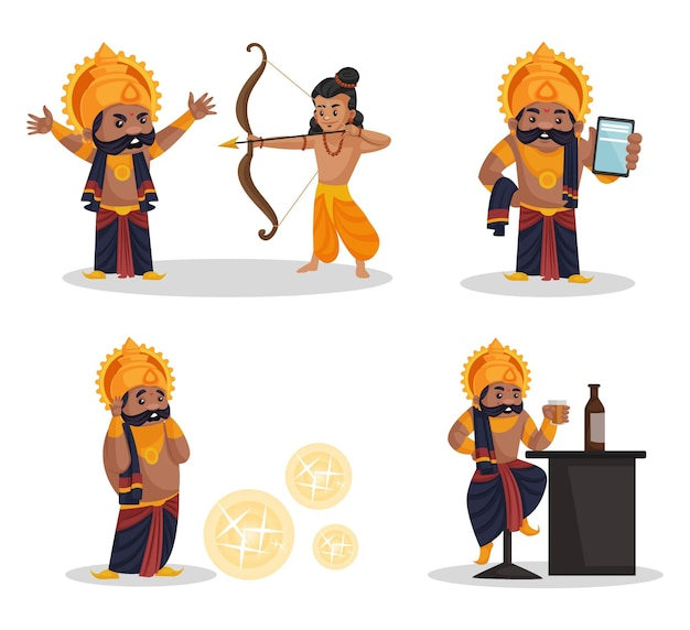 Ilustracja kreskówka zestaw znaków ravana
