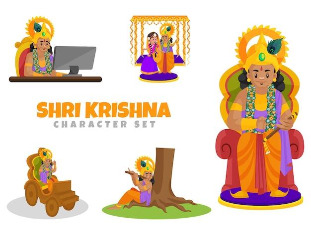 Ilustracja kreskówka zestaw znaków shri krishna