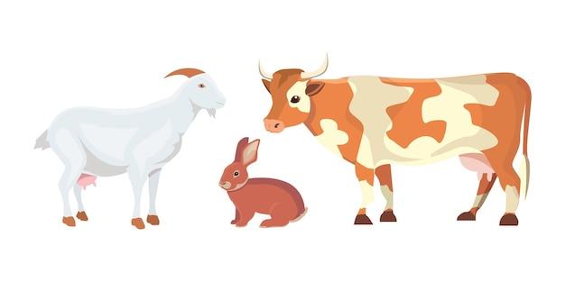 Ilustracja kreskówka zestaw zwierząt gospodarskich na białym tle. krowa, koza i królik.