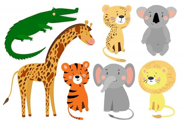 Ilustracja kreskówka zestaw zwierząt na białym tle: koala, lew, tygrys, lampart, słoń, żyrafa, krokodyl.