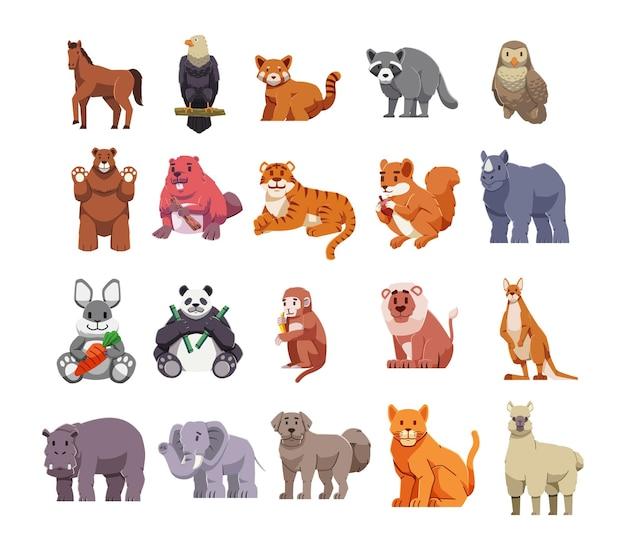 Ilustracja kreskówka zestaw zwierząt