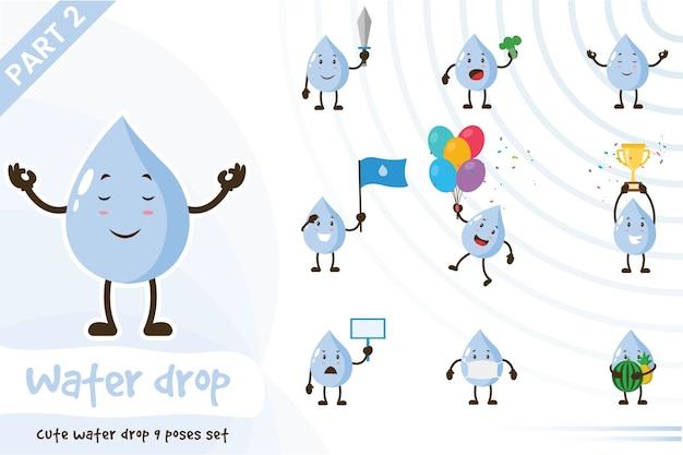 Ilustracja kreskówka zestawu cute kropli wody