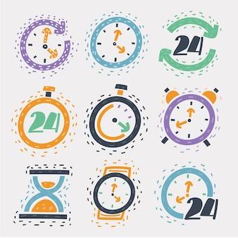 Ilustracja kreskówka zestawu ikon szkicu zegarek z czasem i zegarem, klepsydra, przez całą dobę