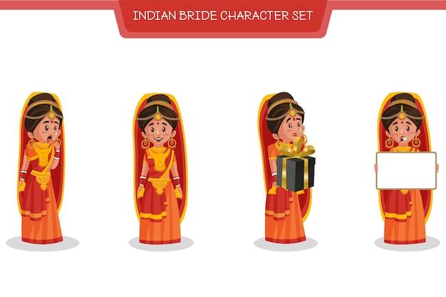 Ilustracja kreskówka zestawu znaków indyjskiej panny młodej