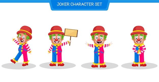 Ilustracja kreskówka zestawu znaków jokera