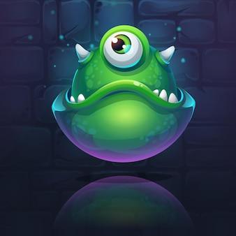Ilustracja kreskówka zielony potwór na tle cegły