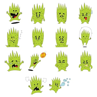 Ilustracja kreskówka zielony zestaw potworów.