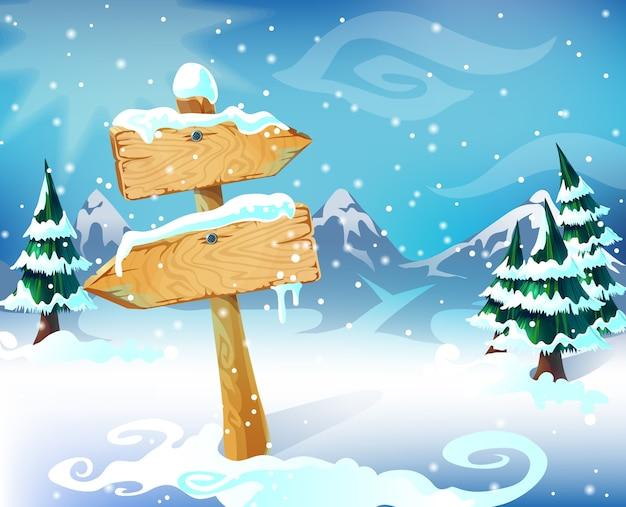 Ilustracja kreskówka zimowy krajobraz