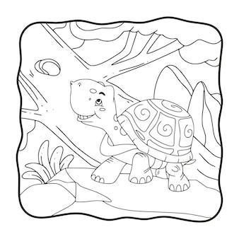 Ilustracja kreskówka żółw chodzi po skalnej książce lub stronie dla dzieci w czerni i bieli