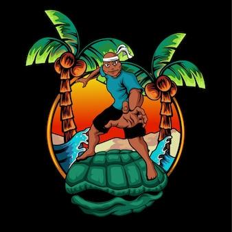 Ilustracja kreskówka żółw maskotka