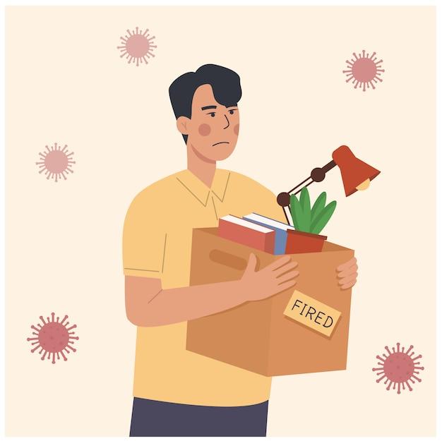 Ilustracja kreskówka zwalniania pracownika podczas pandemii. utrata pracy z powodu kryzysu związanego z koronawirusem, blokady epidemii covid-19. zwolniony mężczyzna niosący pudełko z rzeczami. pojęcie bezrobocia, redukcja zatrudnienia
