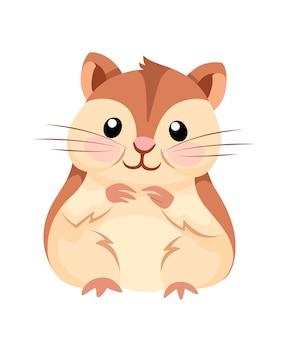 Ilustracja kreskówka zwierząt. śliczny chomik siedzi i uśmiecha się. płaski projekt postaci. ilustracja na białym tle.