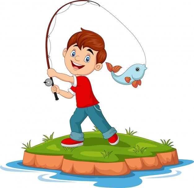 Ilustracja kreskówki chłopiec szczęśliwy połów