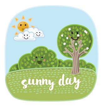 Ilustracja kreskówki ładny letni krajobraz z zabawnymi elementami przyrody z uśmiechniętymi twarzami.