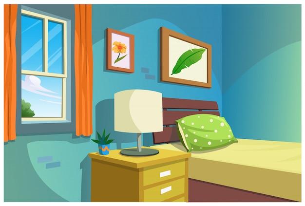 Ilustracja kreskówki sypialnia.