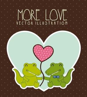 Ilustracja krokodyl miłość na brązowym tle ilustracji wektorowych