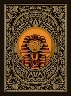 Ilustracja król egiptu na vintage ozdobnej ramie