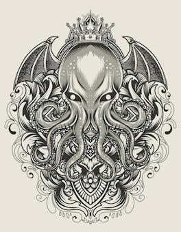 Ilustracja król ośmiornicy z rocznika grawerowania ornament monochromatyczny styl
