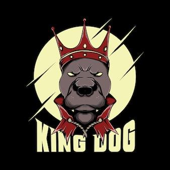 Ilustracja króla buldoga na czarnym tle