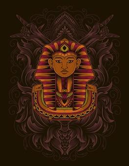 Ilustracja króla egiptu z grawerowanym stylem ornament