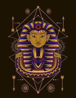 Ilustracja króla egiptu ze świętą geometrią