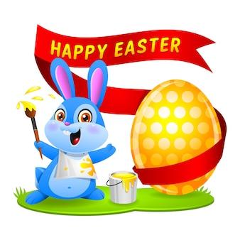 Ilustracja króliczek wielkanocny, królik maluje jajko, format eps 10