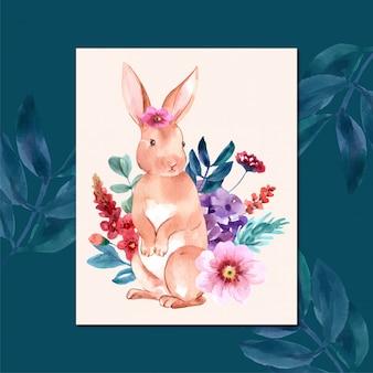 Ilustracja królik i kwiaty
