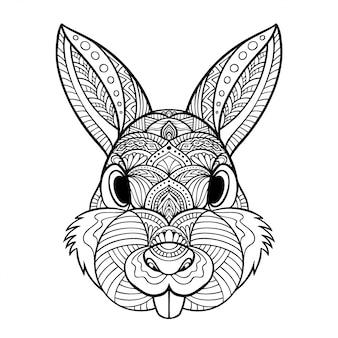 Ilustracja królika zentangle