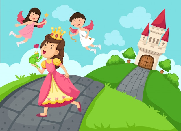 Ilustracja królowej bajki zamek i krajobraz