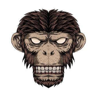 Ilustracja kropka głowa małpy