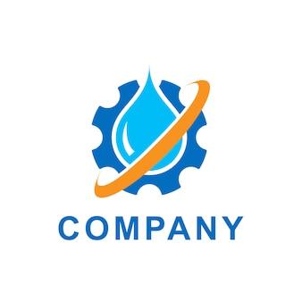 Ilustracja kropli niebieskiej wody z przekładni kół zębatych. szablon projektu logo wektor. abstrakcyjne pojęcie tematu ekologii, zielonej energii eko, technologii i przemysłu.