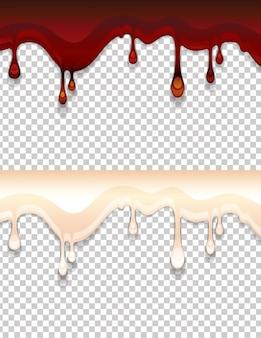 Ilustracja kropli płynnego słodkiego syropu. ciemnobrązowy i mleczny krem do słodyczy na przezroczystym