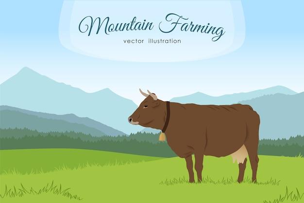 Ilustracja: krowa i wiejska łąka na tle gór. naturalny krajobraz.