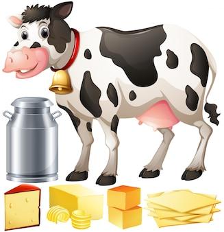Ilustracja krowy i produktów mleczarskich