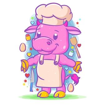 Ilustracja krowy szefa kuchni stojącej w fartuchu