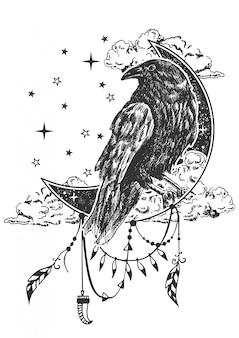 Ilustracja kruk boho