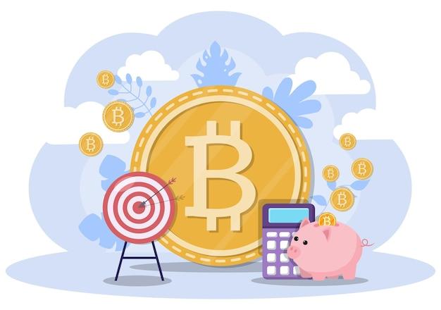 Ilustracja kryptowaluty bitcoin w stylu płaski