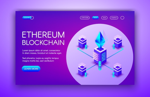 Ilustracja kryptowaluty ethereum z serwerami blockchain na farmie górniczej ether.