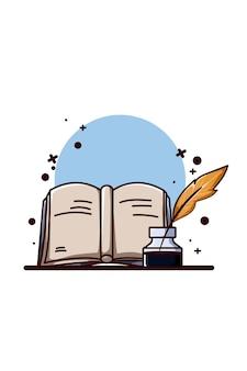 Ilustracja książki z zanurzonym piórem