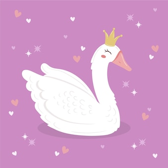 Ilustracja księżniczka łabędź