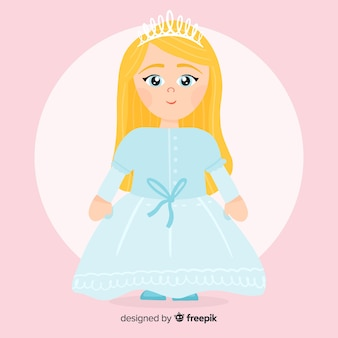 Ilustracja księżniczka płaski kolor pastelowy