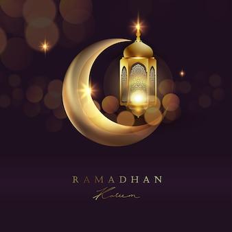 Ilustracja księżyc i latarnia arabska na tle ramadanu
