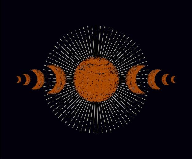 Ilustracja księżyca szczegółowe i edytowalne
