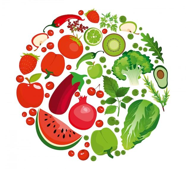 Ilustracja kształt koła zielonych i czerwonych owoców i warzyw. zdrowe odżywianie koncepcja organicznych płaski.