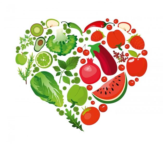 Ilustracja kształt serca czerwonych owoców i warzyw. organiczne pojęcie zdrowego żywienia w stylu płaski.
