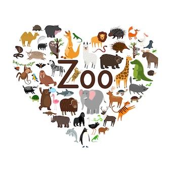 Ilustracja kształt serca zoo